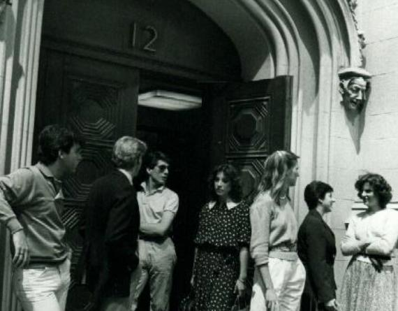 black and white photos of students gathered outside a building in NYC