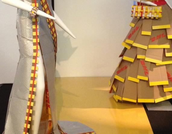 mannequins in paper dresses